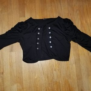 Black Military Style Shrug 3/4 sleeve Plus Size 1x
